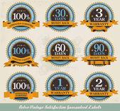 Retro vintage satisfaction guaranteed labels — Stock Vector