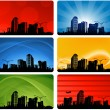 Cityscapes silhouettes background - Stock Vector