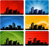 Cityscapes silhouettes background — Stock Vector