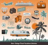 Raccolta di icone simbolo di viaggio — Vettoriale Stock