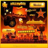 Elementos de la película de cine hollywood — Vector de stock
