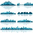 Royalty-Free Stock Vectorafbeeldingen: Set of detailed cities silhouette