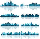 Ensemble de la silhouette de villes détaillées — Vecteur