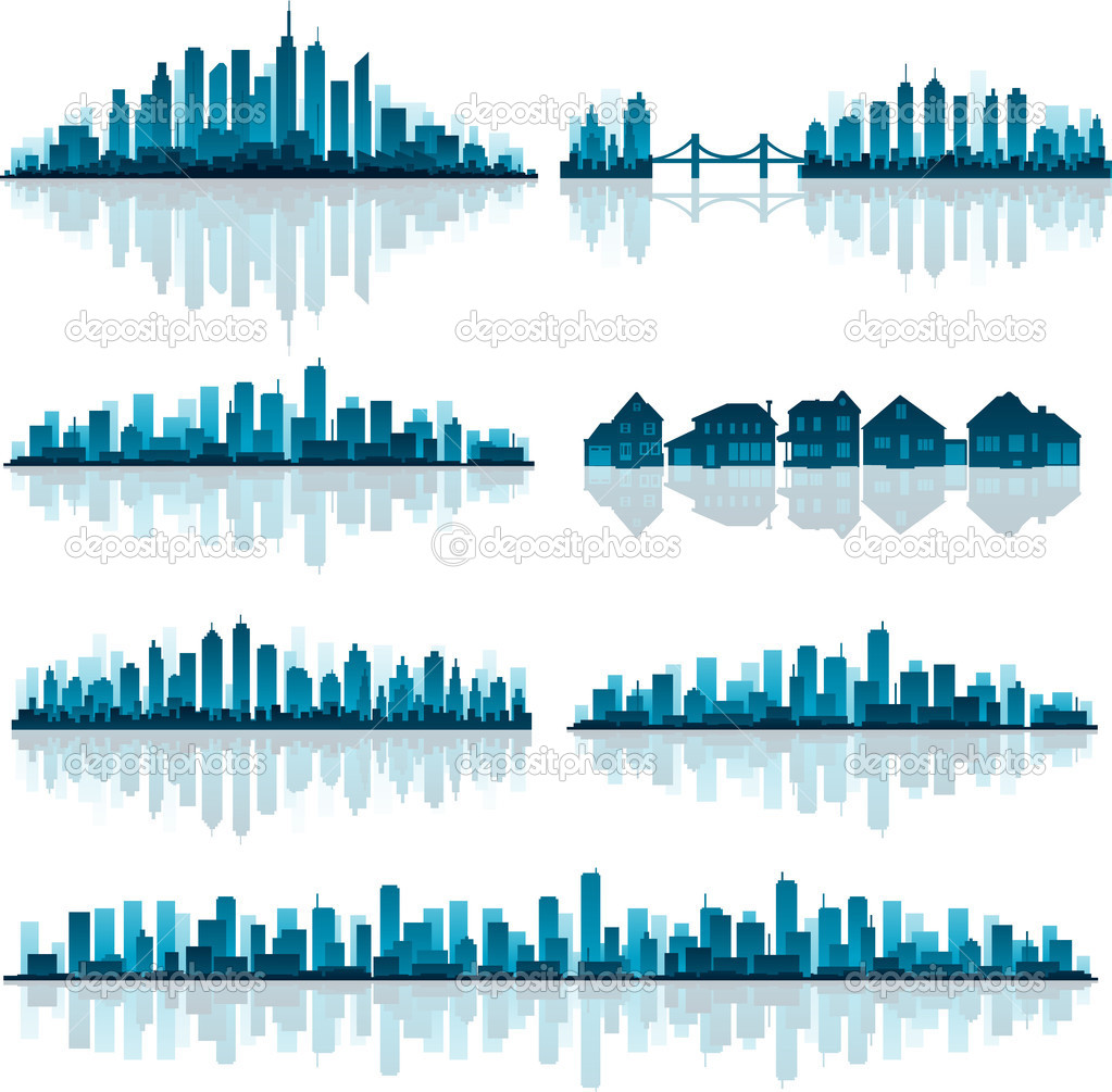 Blue cityscape silhouette with reflection — Stock Vector #9354387