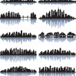 Set of detailed cities silhouette - Stok Vektör
