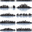 Set of detailed cities silhouette — Imagen vectorial