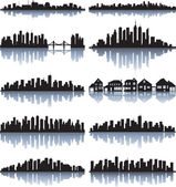 Set of detailed cities silhouette — Vecteur