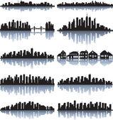 Seti detaylı şehir silueti — Stok Vektör