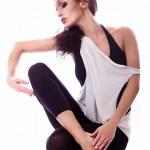 Sexy Italian dancer posing isolated in white — Stock Photo