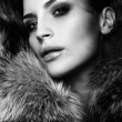 Portrait of a young fashion model wearing fox fur smoky eyes — Stock Photo