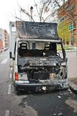 Burning truck (vandalism) — Stock Photo