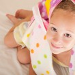 Portrait of happy child with a towel — Stock Photo
