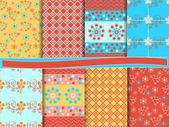 Vector set of abstract floral scrapbook — Stock Vector