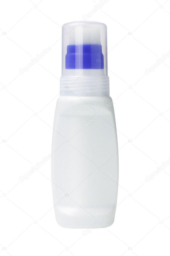 白い背景の上のアプリケータとキャンバスの靴漂白剤のボトル \u2014