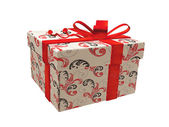 Gift -box with Red Ribbon — Stock Photo