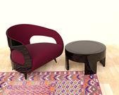 Nowoczesny okrągły stół z fotelem — Zdjęcie stockowe
