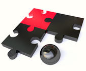 Jigsaw Puzzle in Black and Red — Stock Photo