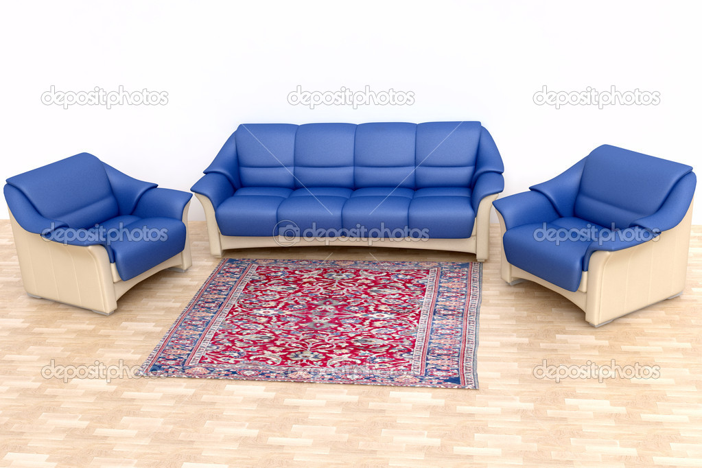 Modern Interior with Blue Sofa and Carpet in 3D  Stock Photo #9392076