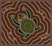 Illustration based on aboriginal style of dot painting depicting — Stock Photo