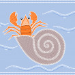 Illustration based on aboriginal style of dot painting depicting hermit crab — Stock Vector