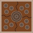 Aboriginal style of dot painting depicting circle. — Stock Vector