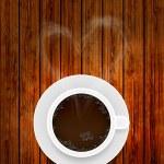taza de café Vector sobre fondo de madera con humo en forma de corazón. Eps10 — Vector de stock