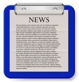 Vector clipboard with news isolated on white. Eps10 — Stockvektor