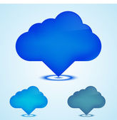 Vector computer cloud stickers on blue background. Eps10 — Vettoriale Stock