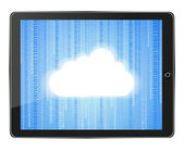 Vector realistic computer tablet with cloud on binary background isolated on white. Eps 10 — Stock Vector