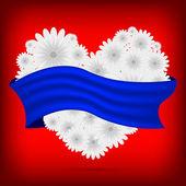 Vector corazón creativo de flores con cinta azul — Vector de stock
