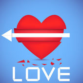 Heart pierced by boom. Vector illustration. Best choice. Eps 10 — Stock Vector