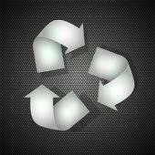 Steel recycle on metal background. Vector illustration — Cтоковый вектор