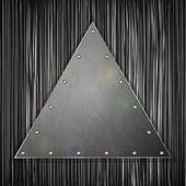 Driehoekige plaat op grunge achtergrond voor uw ontwerp. vectorillustratie — Stockvector