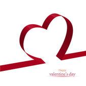 Red ribbon heart. Vector illustration — Stock Vector