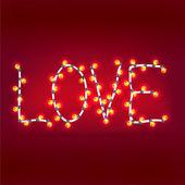 Palabra de amor guirnaldas. vector de fondo. eps 10 — Vector de stock