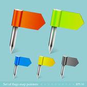 Vector conjunto de banderas mapa punteros. fácil de editar. eps10 — Vector de stock