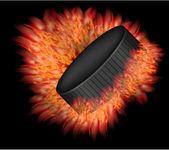 Duende malicioso de hockey vector con fuego. eps10 — Vector de stock