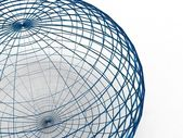 Blue wire sphere — Stock Photo
