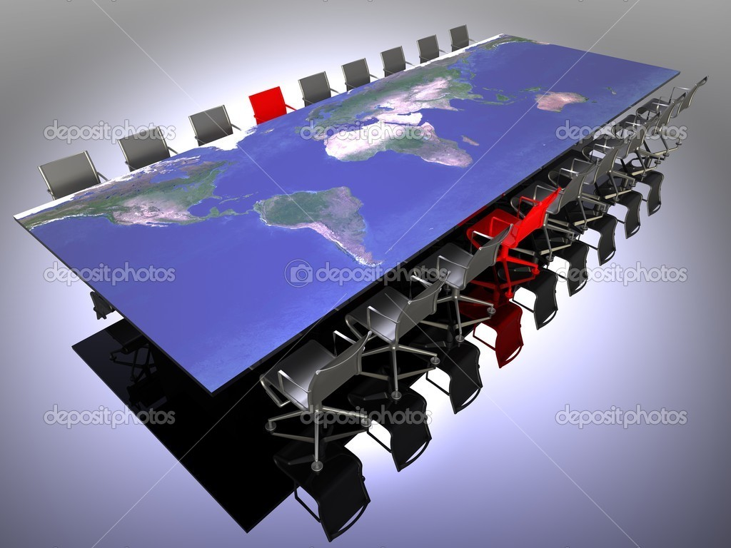 3d illustration of a table and chairs for an international meeting — Stock Photo #9538958