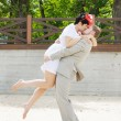 Bride and groom on the beach — Stock Photo #8457017
