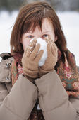 Woman having fun in winter — Stock Photo