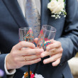 Painting champagne glasses — Stock Photo