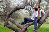 Woman and her grown-up daughter sitting on a tree — Stock Photo