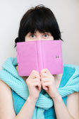 Young woman with diary — Stock Photo