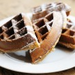 Belgian waffles - Stock Photo