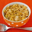 Cornflakes in the bowl with spoon - Stock Photo