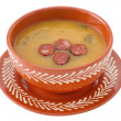Cream soup with cut sausage in bowl — Stock Photo #10484563
