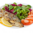 Grilled swordfish with salad on plate — Stock Photo #10484566