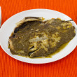 Stock Photo: Fish with sauce pesto on th plate
