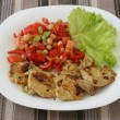 Fried pork with salad — Stockfoto